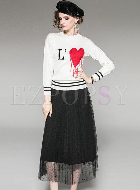 Heart Pattern Tassel Knitted Top & Mesh Skirt