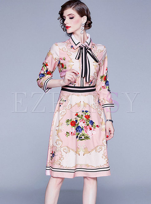 Court Lapel Print A Line Dress