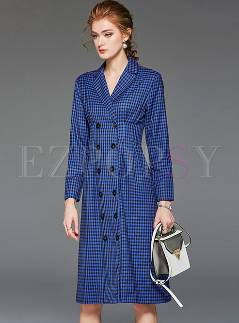 Casual Plaid Gathered Waist Splicing Trench Coat