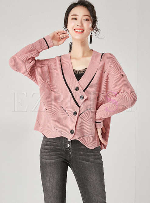 Casual V-neck Bat Sleeve Cardigan