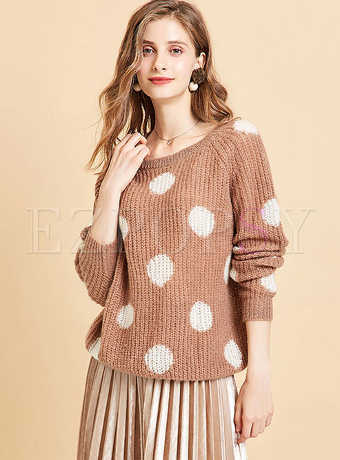 O-neck Pullover Dot Loose Sweater