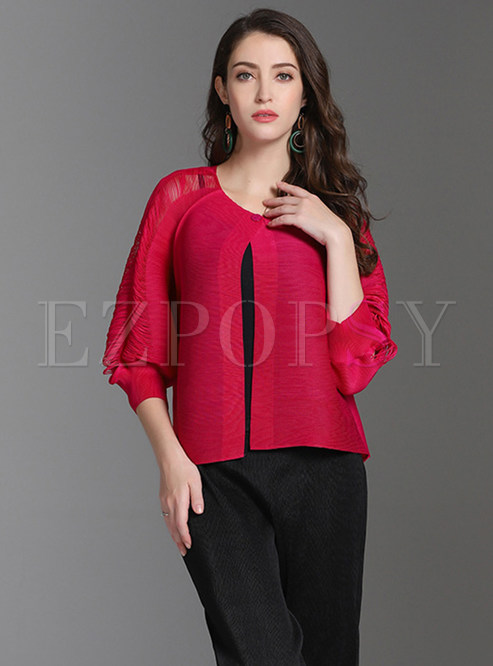 Rose Red Pleated Openwork Sleeve Coat