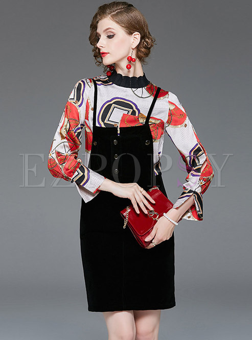 Standing Collar Print Velvet Two Piece Outfits