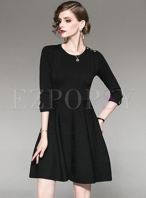 Brief O-neck Big Hem Pullover Knitted Dress