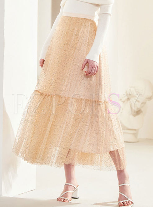 Sweet Elastic Waist Mesh A Line Skirt