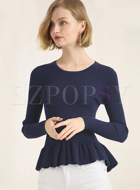 O-neck Slim Pullover Frilled Hem Sweater