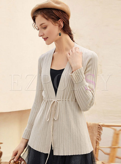 Solid Color V-neck Drawcord Thin Cardigan