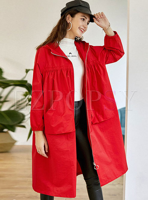 Hooded Long Sleeve Loose Trench Coat