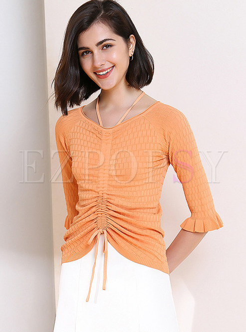 V-neck Flare Sleeve Drawstring Knit T-shirt