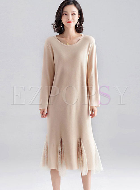 O-neck Long Sleeve Knitted Dress