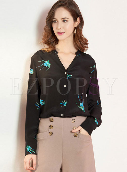 V-neck Print Long Sleeve Silk Blouse