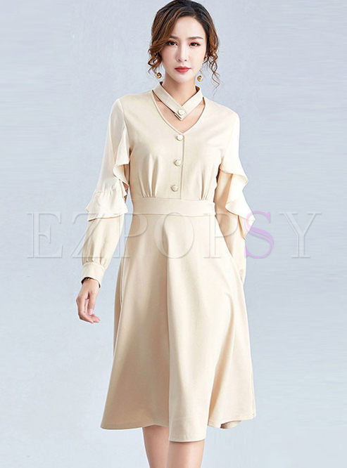 Solid Color V-neck Waist Knitted Dress