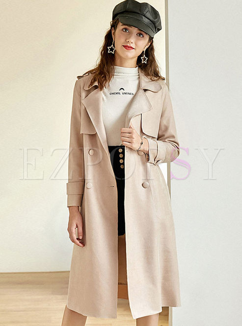 Casual Solid Color Waist Trench Coat