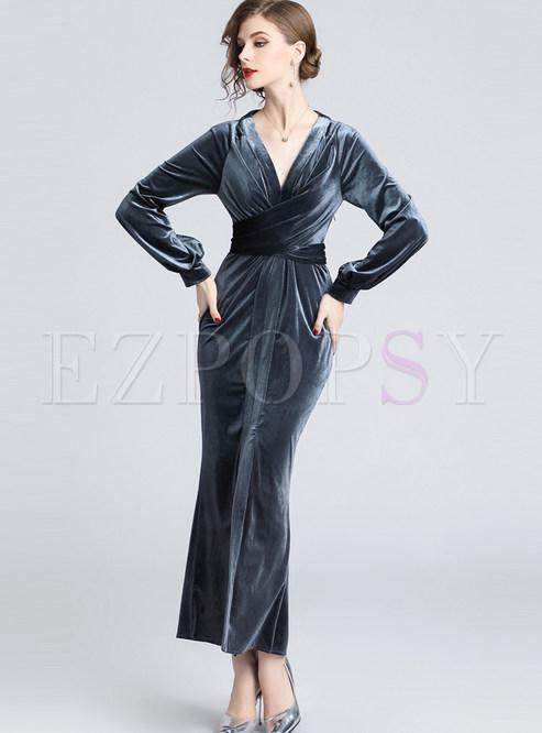 V-neck Long Sleeve Velvet Party Maxi Dress