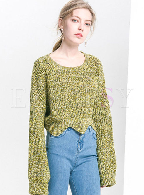 O-neck Wave Pullover Loose Short Sweater