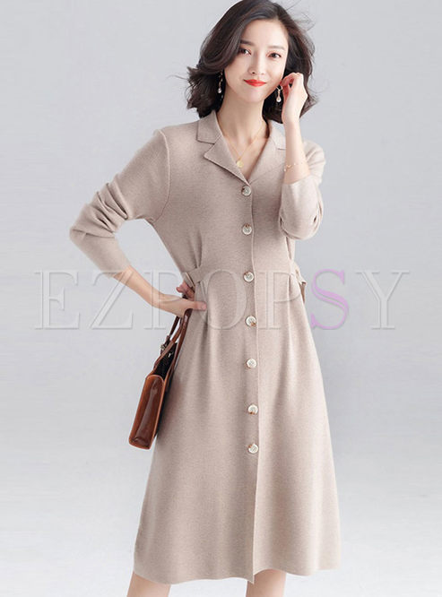 Turn Down Collar Long Sleeve Sweater Dress