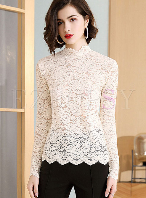 Long Sleeve Lace Openwork Top