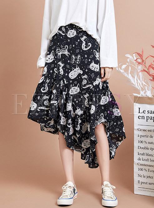 Sweet Print Irregular Chiffon Skirt