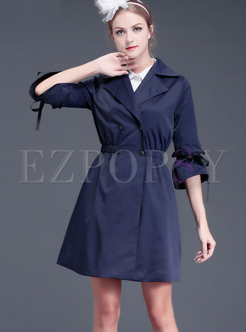 Notched 3/4 Sleeve Double-breasted Trench Coat