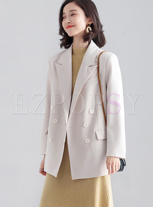 Solid Color Turn Down Collar Straight Blazer