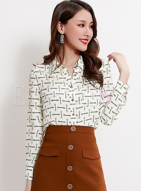 Turn Down Collar Print Zip-up Blouse