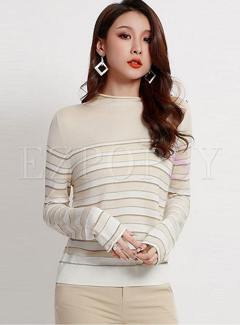 Standing Collar Striped Slim Sweater