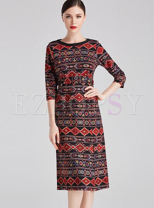O-neck Print Waist Split Bodycon Dress