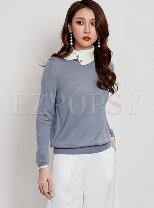 High Collar Long Sleeve Patchwork Knit Top