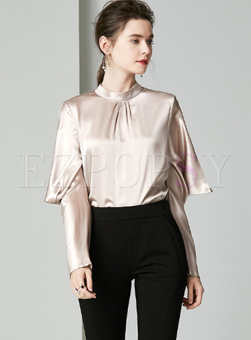Fashion Stand Collar Pleated Pullover Loose Silk Blouse