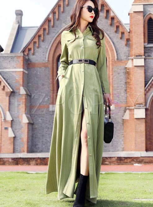 Green Lapel Striped Maxi Dress With Belt