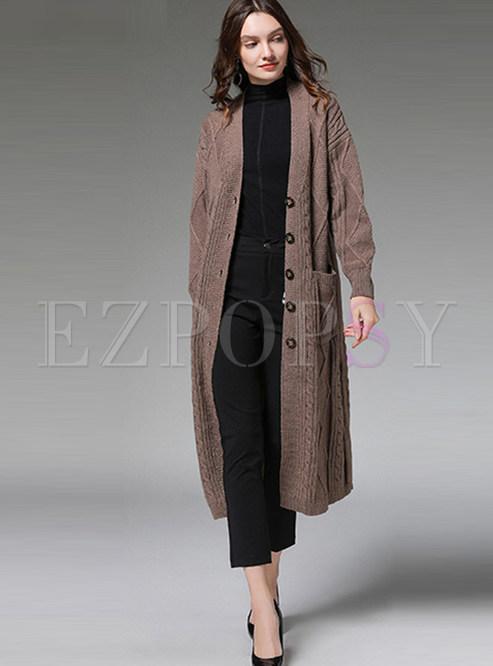 Khaki V-neck Single-breasted Zip-up Long Sweater