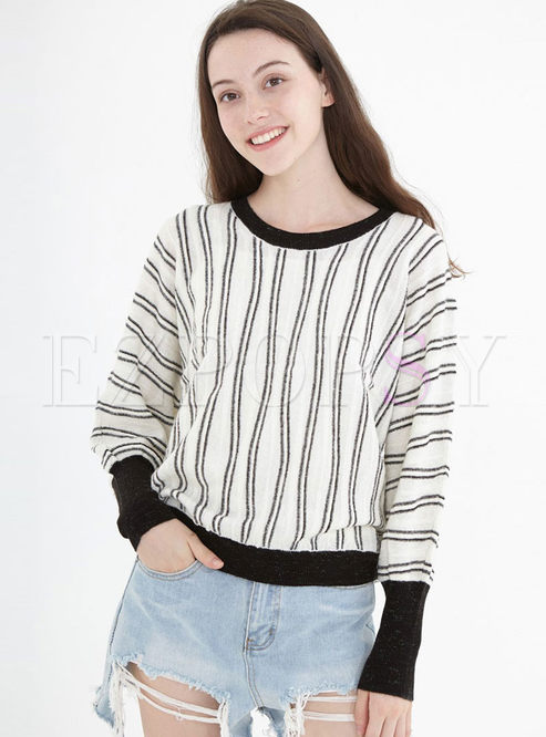 O-neck Striped Loose Pullover Sweater
