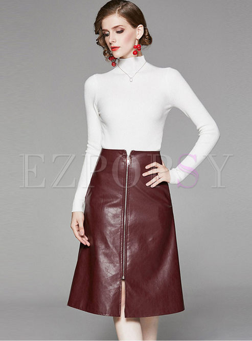 Long Sleeve Slim Sweater & PU A Line Skirt