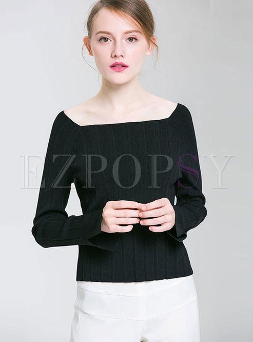 Square Neck Long Sleeve Slim Sweater