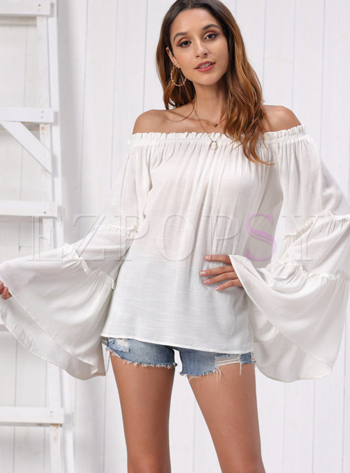Solid Color Slash Collar Flare Sleeve Loose Blouse