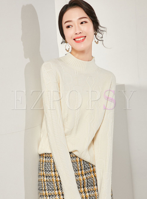 Brief Solid Color Stand Collar Knit Top