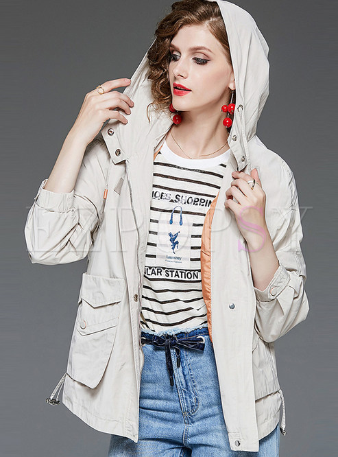 Apricot Short Hooded Trench Coat