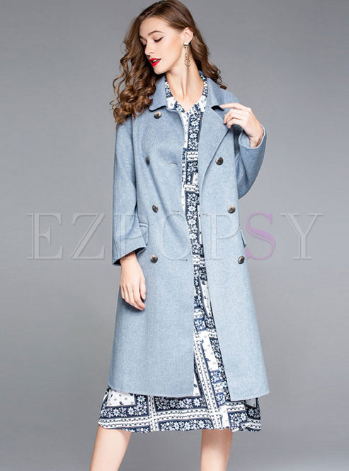 Solid Color Notched Long Sleeve Wool Peacoat