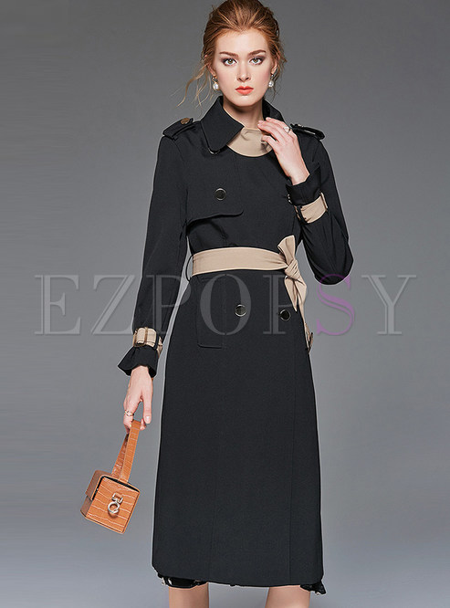 Turn Down Collar Patchwork Bodycon Trench Coat