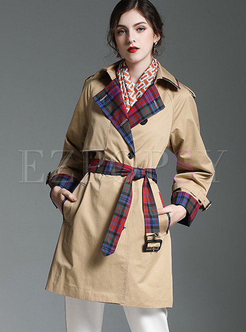 Fashion Lapel Color-blocked Patchwork Plaid Trench Coat