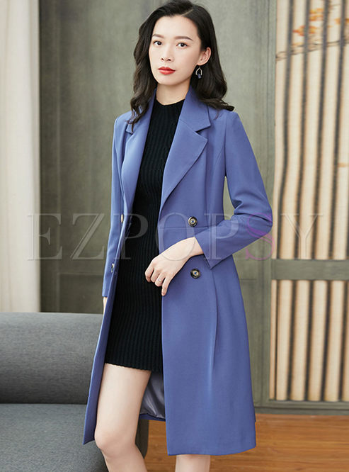 Solid Color Notched A Line Trench Coat