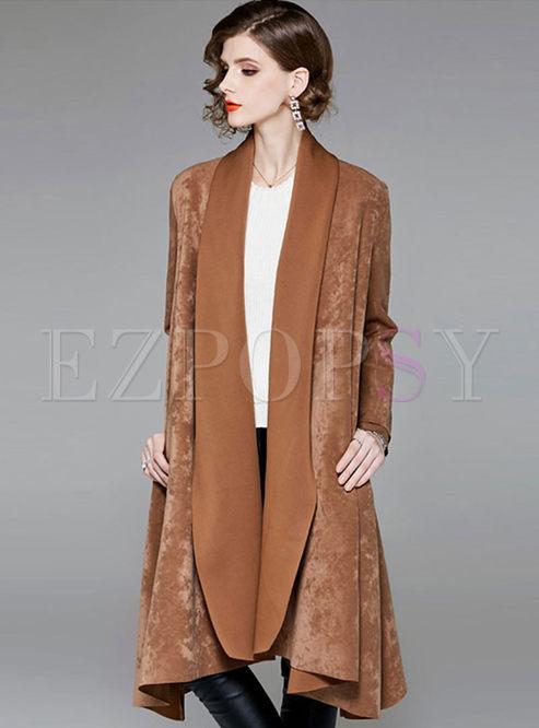 Solid Color Long Sleeve Irregular Overcoat