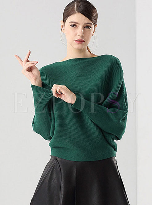 Slash Neck Long Sleeve Pullover Sweater