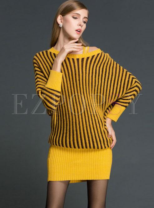 Off Shoulder Striped Slim Sweater Dress