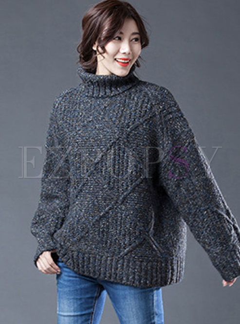 Turtleneck Long Sleeve Loose Sweater