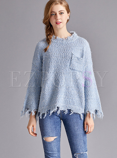 Sweet-neck Flare Sleeve Rough Selvedge Pullover Sweater