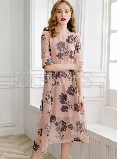 O-neck Half Sleeve Print Split Shift Dress