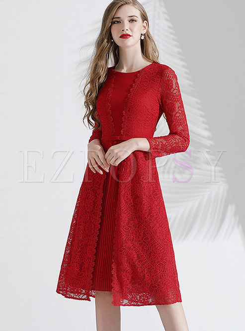 Red O-neck Lace Patchwork A Line Dress