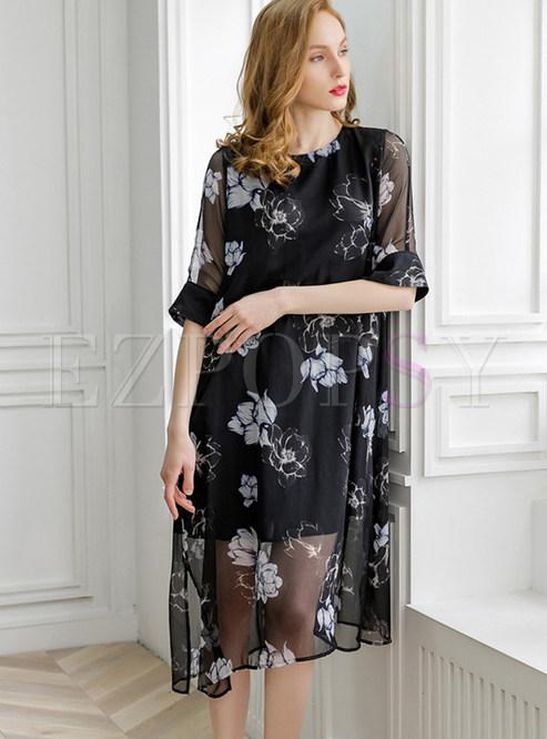 Black O-neck Half Sleeve Print Split Shift Dress