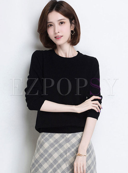 Solid Color O-neck Pullover Loose Sweater